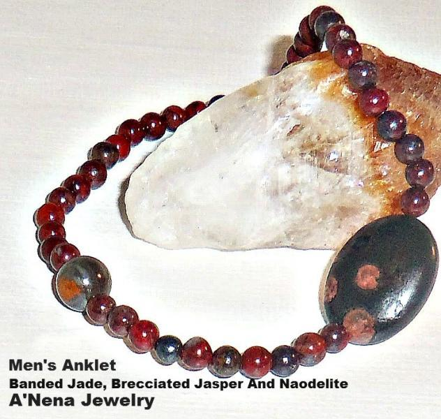"Men's Anklet Banded Jade, Brecciated Jasper And Naodelite ""Blessed and Free"""