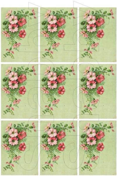Shabby Chic pink flowers  collage sheet for scrapbook and cards  DC419 Pocket