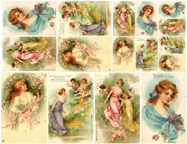 Shabby Chic Vintage Lovely  ladies Digital collage sheet for scrapbook and cards