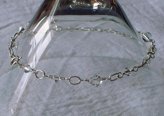 Wire-Wrapped Link Anklet - Charm Style in Clear