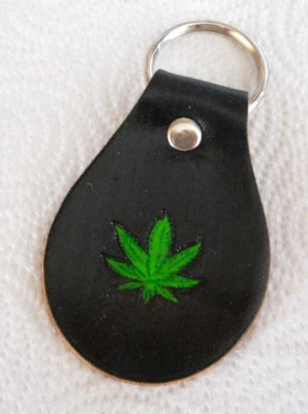 Weed Leather Keychain