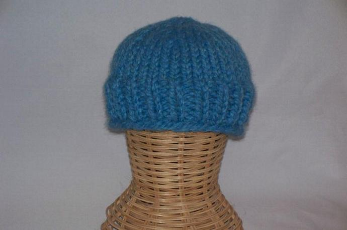 Warm Winter Beanie Hat - Infant 0 - 6 months size, Sky Blue