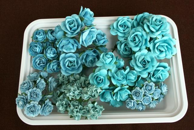 70 SHABBY BEAUTIFUL Handmade mulberry paper roses and flower plus case aqua
