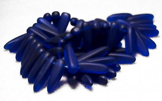 Cobalt Daggers- recycled sea glass beads