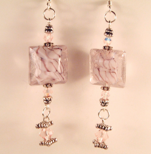 Pale Vintage Rose Bead & Crystal Earrings
