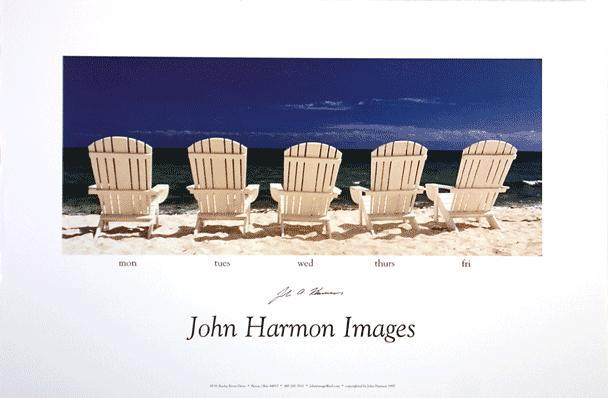 Five  Adirondak Chairs on the Beach Poster