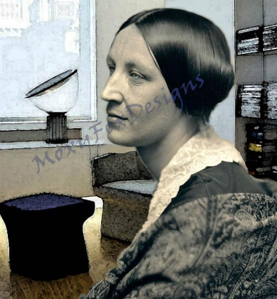 Art – TIME WARP 1800s Susan B.Anthony in Contemporary Setting FREE US Shipping