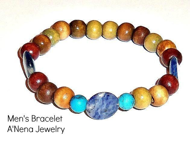 "Mens Bracelet""Live"" Genuine Sodalite, Turquoise and Wood"