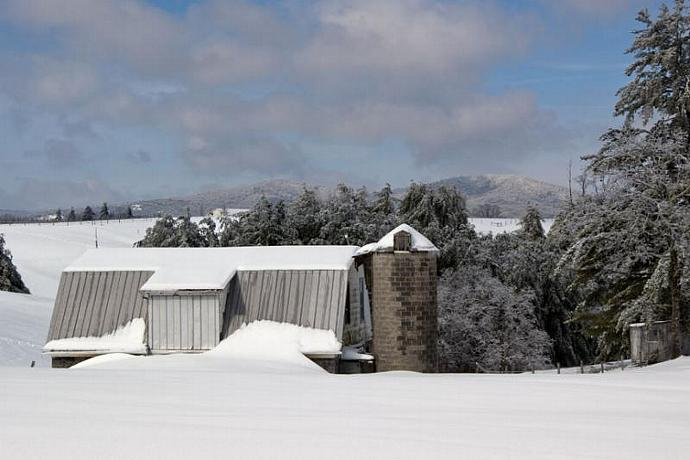Winter at Bullhead Mountain with Barn and Silo in Foreground