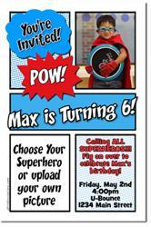 Comic Book Birthday Invitations *download JPG immediately after payment*