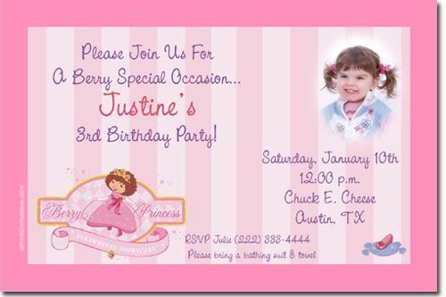 Baby Strawberry Shortcake Baby Shower Invitations