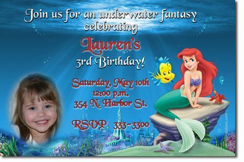 LITTLE MERMAID ARIEL BIRTHDAY INVITATIONS (click for add'l designs)