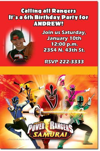 Power Rangers Samurai Birthday Invitations Click For Addl Download