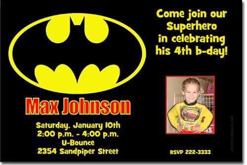 Batman Birthday Invitations (click for additional designs)