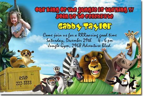 Madagascar Birthday Invitations (Download JPG Immediately)