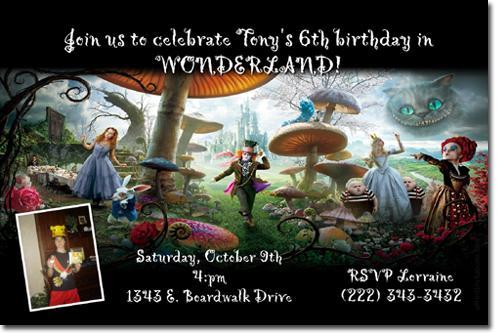 Alice in Wonderland Birthday Invitations click for additional designs
