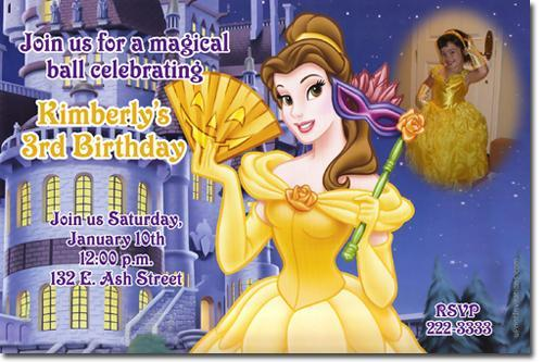 BEAUTY AND THE BEAST BELLE BIRTHDAY INVITATIONS (download JPG immediately)