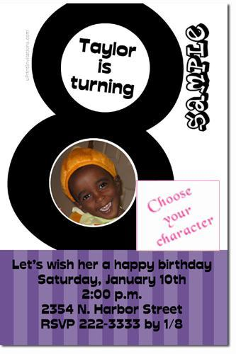 8th Birthday Invitations (ANY COLOR SCHEME) **Download Immediately**