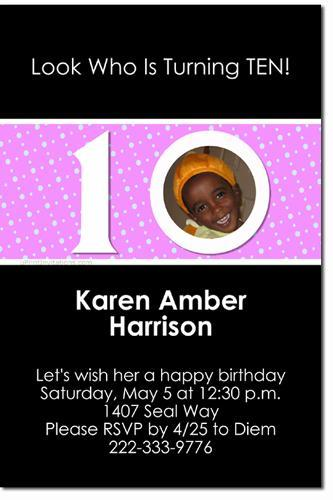 10th Birthday Invitations (ANY COLOR SCHEME)