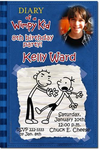Diary of a Wimpy Kid Birthday Invitation (Download JPG Immediately)