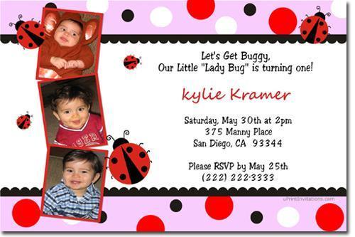 Ladybug Birthday Invitations (Any Color Scheme) add'l designs