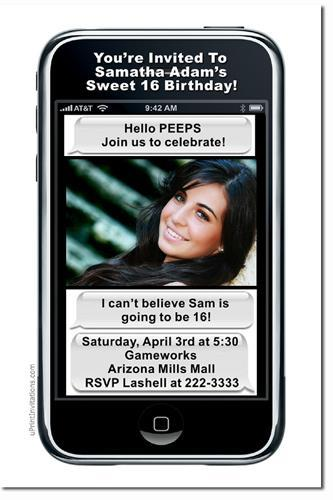 iPhone Birthday Invitations (click for add'l Designs) * Download JPG
