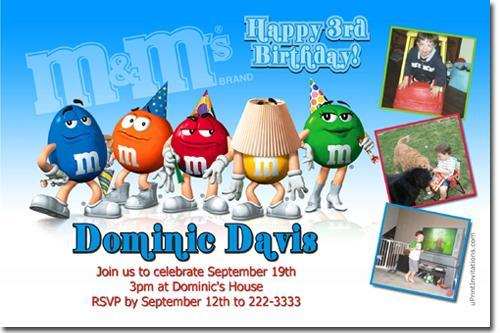 M & M's Birthday Invitations (Download JPG Immediately)