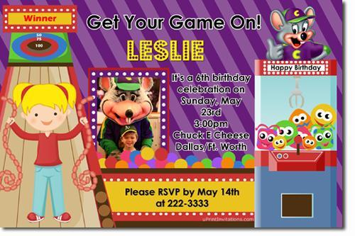 Chuck E Cheese Birthday Invitations (ALL COLORS) (Download JPG NOW)