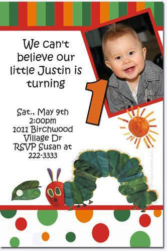 Very Hungry Caterpillar Birthday Invitation (click for add'l designs)