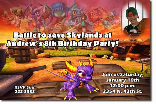 Skylanders Spyros Adventure And Giants Birthday Invitations
