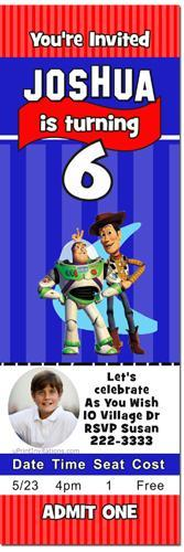 Toy Story Ticket Birthday Invitations (click for additional designs)
