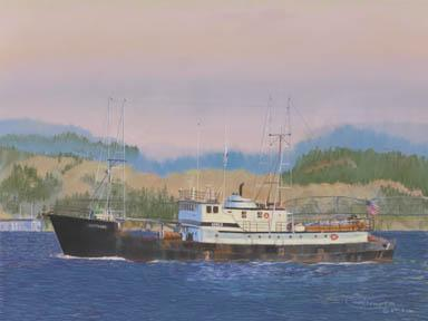 """Eastward"" Paper Giclee Print Fishing Boat Vessel by Carol Thompson"