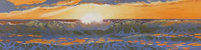 """""""Bright Sunset"""" Giclee Paper Print Seascape by Carol Thompson"""
