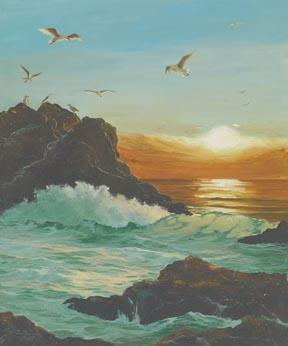"""Seagulls At Sunset"" Giclee Paper Print Seascape by Carol Thompson"