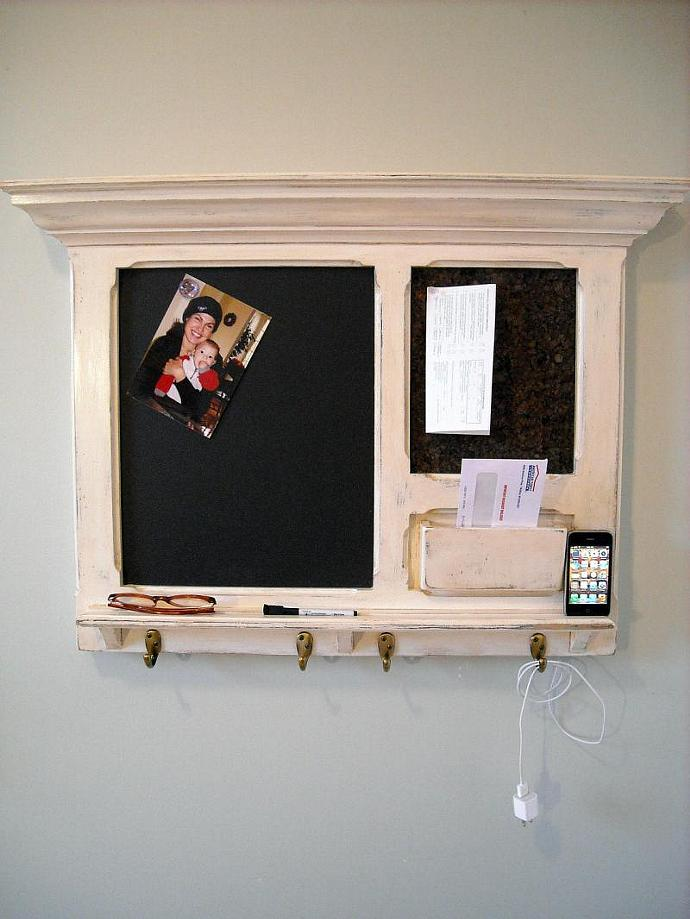 Another idea: An  iPhone Dock on a FitzWoodys Furniture Wood Framed Cork