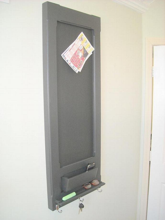 Tall Framed Bulletin board, Message Center in Satin Black