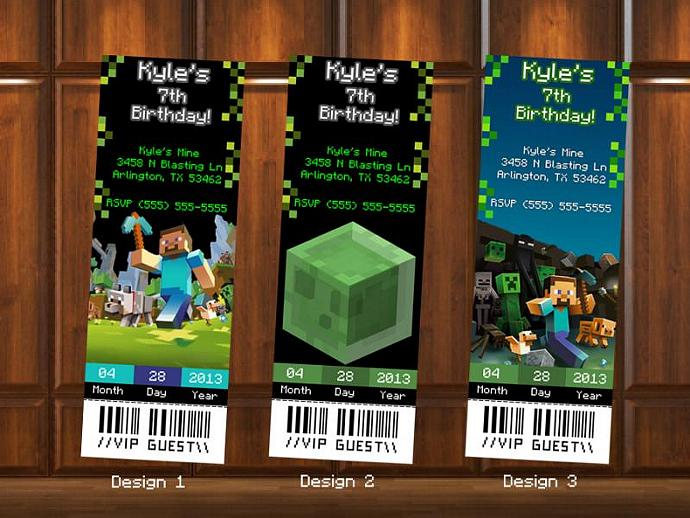 Minecraft birthday invitations ticket kustomkreations minecraft birthday invitations ticket style digital file stopboris Images