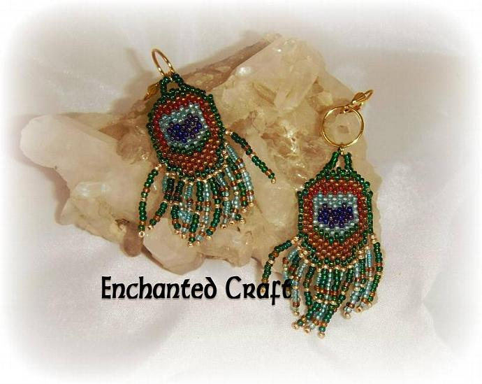 Peacock Feather Seed bead earrings- lever back