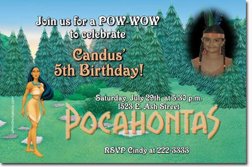POCAHONTAS BIRTHDAY INVITATIONS (click for additional designs)