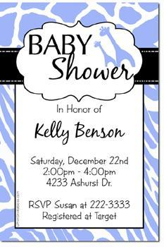 Animal Print Baby Shower Invitations (Any Color Scheme and Prints)