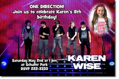 One Direction Birthday Invitations (Download JPG Immediately)