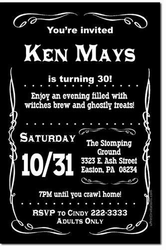 Black Label Birthday Invitations Download JPG Immediately