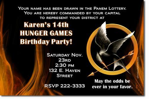 Hunger Games Birthday Invitations Download JPG Immediately