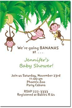 Monkey Baby Shower Invitations (click for add'l designs)
