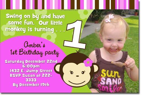 Monkey Birthday Invitations (click for add'l designs)