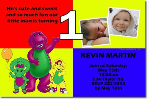 Barney Birthday Invitations click for add'l designs (Download JPG NOW)