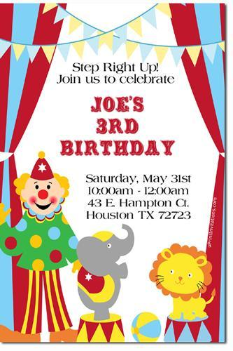 carnival amusement park birthday invitations -Download JPG Immediately