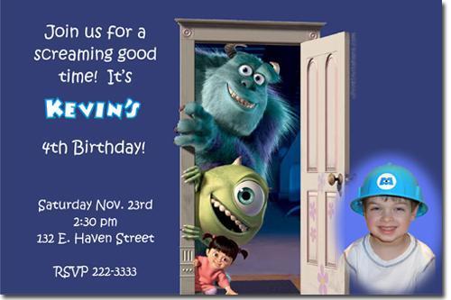 Monsters Inc. University Birthday Invitations -Download JPG Immediately