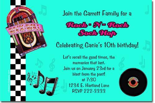 50's Sock Hop Birthday Invitations (ANY COLOR) * Download JPG NOW *