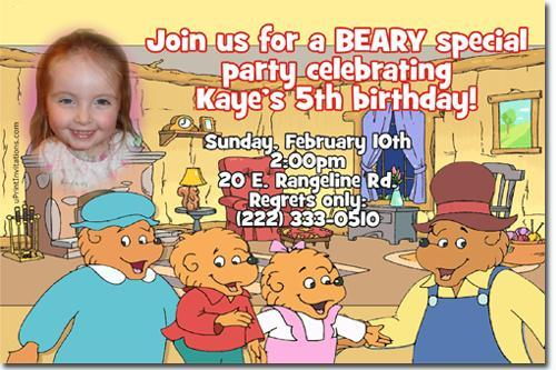 Berenstain Bears Birthday Invitations (Download and Print Immediately)
